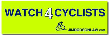 Get Our Free Watch 4 Cyclists Bumper Sticker